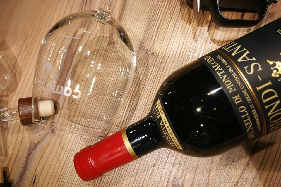 Degustazione di vini Biondi Santi.